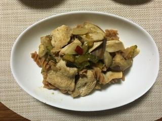 ぬか漬け鶏肉のペペロンチーノ