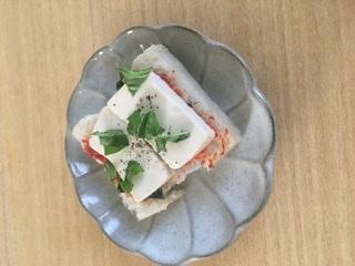 マクロビオティック ぬか漬け豆腐のピザトースト